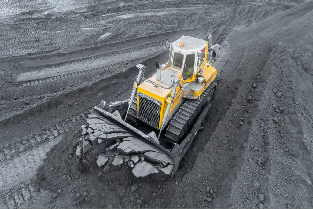Bulldozer sorts coal